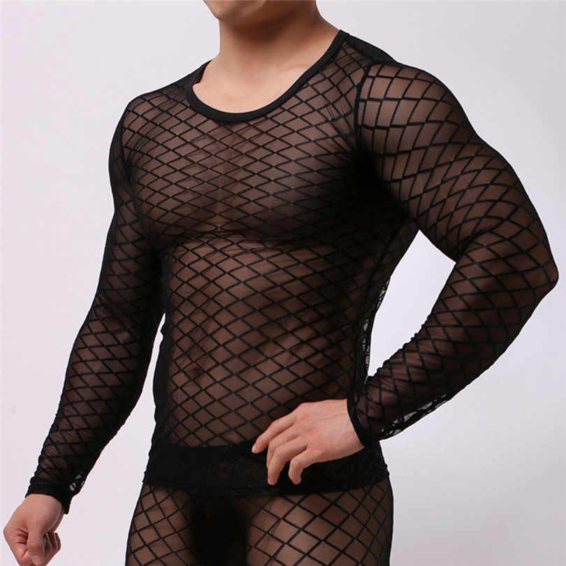 男性のテディボディスーツ夏カジュアル筋肉プルオーバー長袖メッシュ下着スーパーセクシーで魅惑的なナイトウェア #3O11