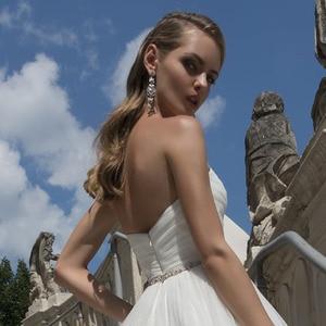Image 5 - Vestidos de casamento de princesa, vestido de casamento de cintura cristal, plissado, com decote nas costas nuas, branco plus size