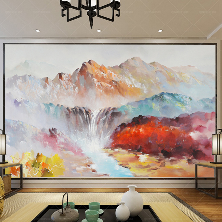 Scene Of Mountains Pleasant New Chinese Style Huge High-definition Oil Painting Art Background Mural Living Room Horizontal TV B
