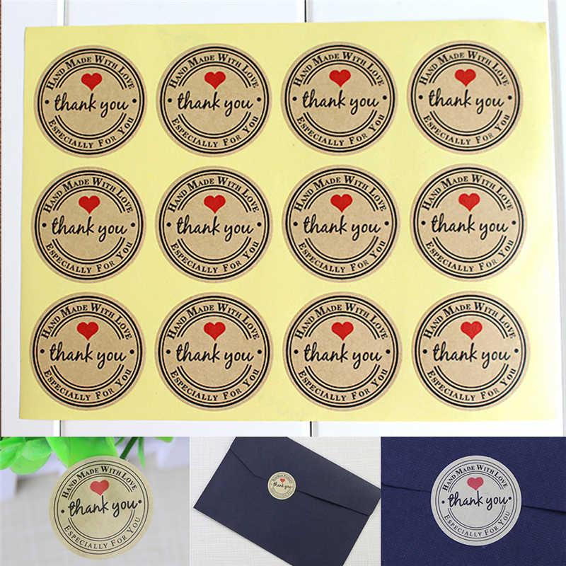 Chaud 12/60/120 pièces étiquettes rondes personnalisées sac en papier Kraft merci autocollants merci amour rouge autocollants auto-adhésifs étiquettes de vêtement