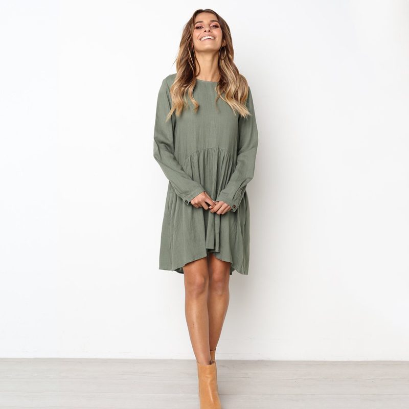 New Autumn And Winter crew neck Solid Midi Dress Women Long Sleeves Knees Casual Dresses Pleated Sundress 2019 Female Vestidos in Dresses from Women 39 s Clothing