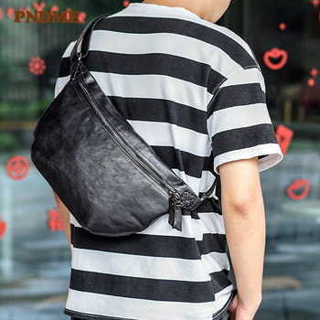 PNDME fashion trend genuine leather daily mens chest bag simple casual natural real cowhide messenger vintage waist pack