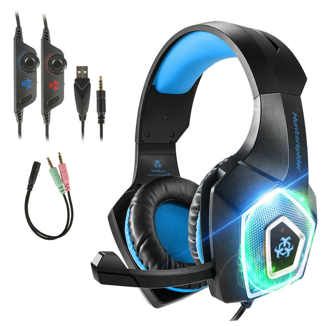2020 Led Light Gaming Headphones 3.5mm Gaming Headset Mic LED Headphones Stereo Surround For PC PS4 Adjustable Bass Stereo 1