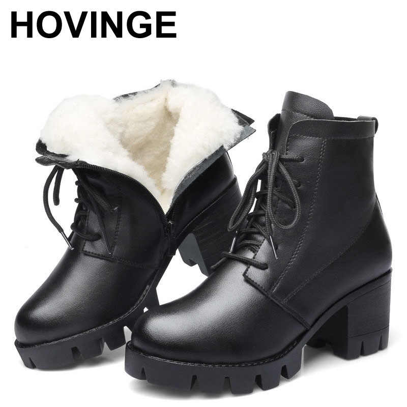 Zimowe buty damskie ze skóry