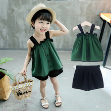 Summer Girl Clothing Set New Lace Camisole Shorts 2 Pieces Kids Clothes 3-7 Years Old Toddler