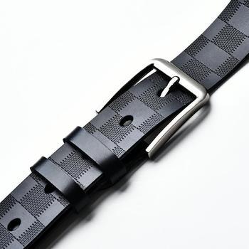New pin buckle Men's belt leather retro fashion simple check pattern gifts for men designer belt fashionable rhombic pattern buckle faux leather belt for men
