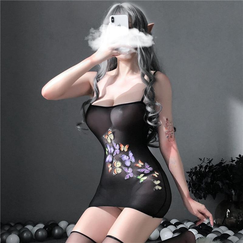 Hfbd721eeafa74da8804fabe3654e3b12e sexy lingerie porno hot women's underwear sex toys erotic costumes intimate nightgown Elastic dresses sleepwear slips kimino