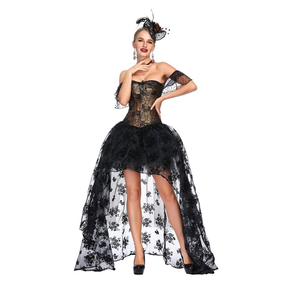 Image 4 - Off Shoulder Corset Set Steampunk Costume Victorian Overbust gathered chest sexy waist trainer steampunk gothic lingerie bustier-in Bustiers & Corsets from Underwear & Sleepwears
