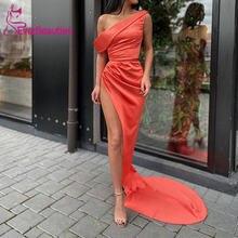 Женское вечернее платье русалка Черное с разрезом по бокам вечерние