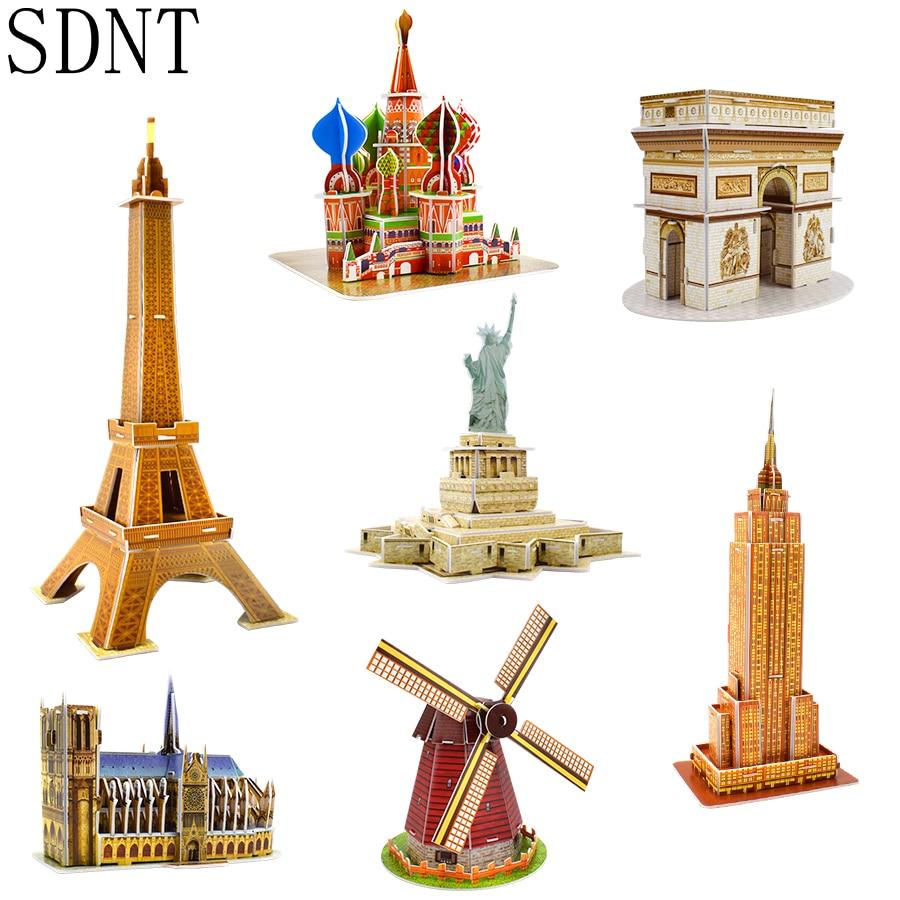 Modelo de Construção de papelão 3D Puzzles Brinquedos para As Crianças DIY Mundialmente Famosa Tower Bridge Jigsaw Puzzle Brinquedos Educativos Presentes Casa Branca