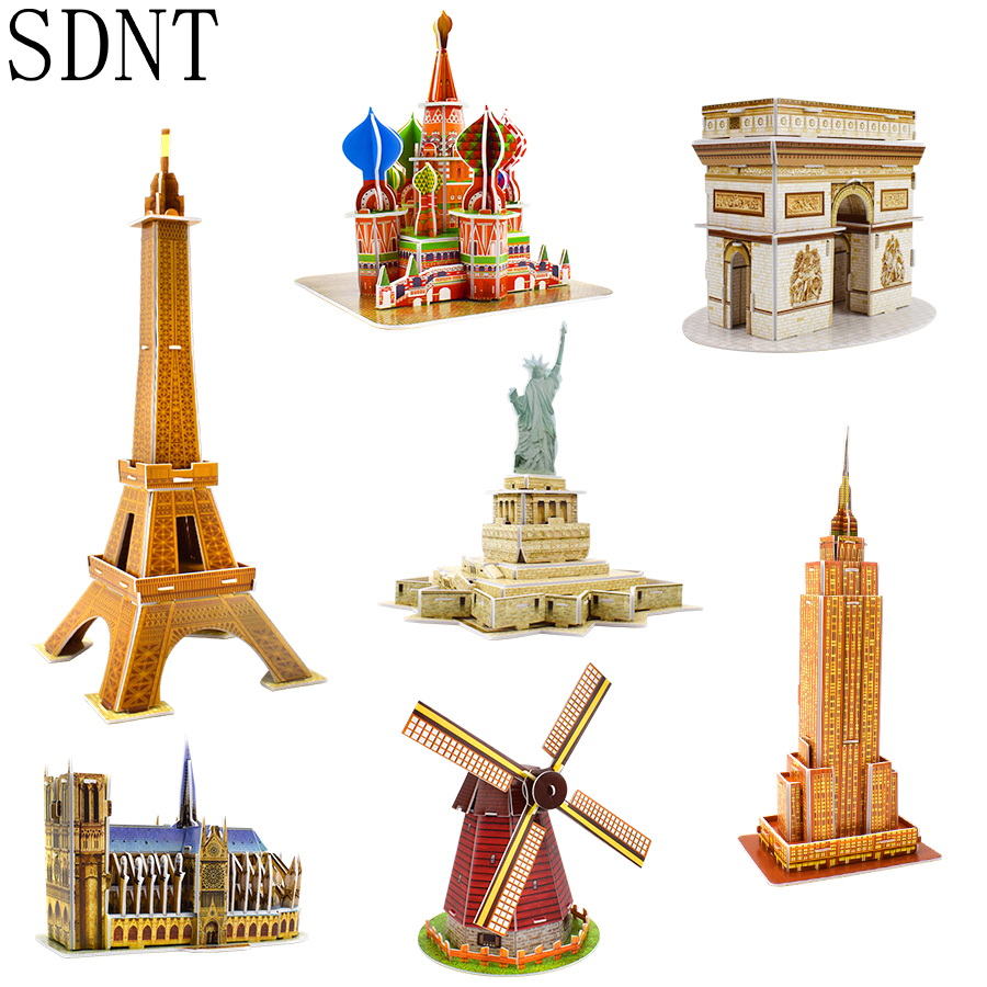 Carboard Building Model 3D Toys Puzzles for Kids DIY World Famous Tower Bridge White House Jigsaw Puzzle Educational Toys Gifts-in Puzzles from Toys & Hobbies