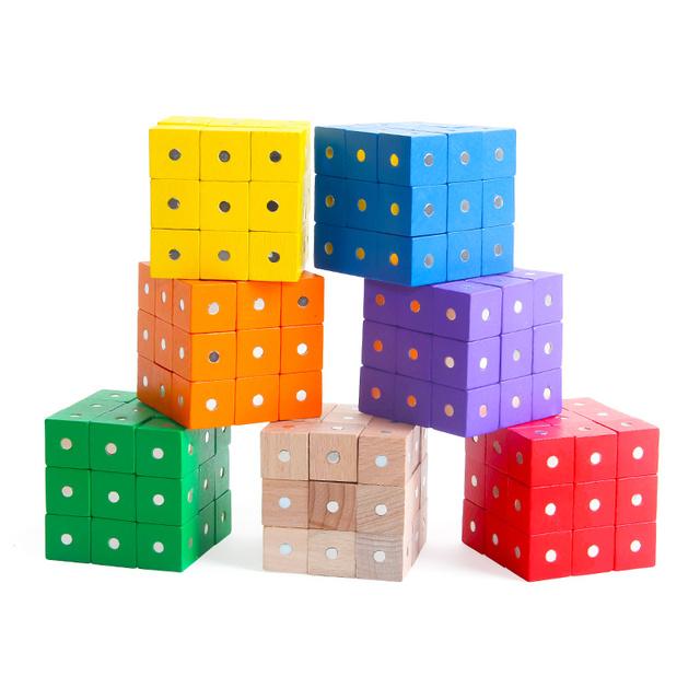 Wood Block 10 Pcs Magnetic Cube For Children Kids Educational Math Toys