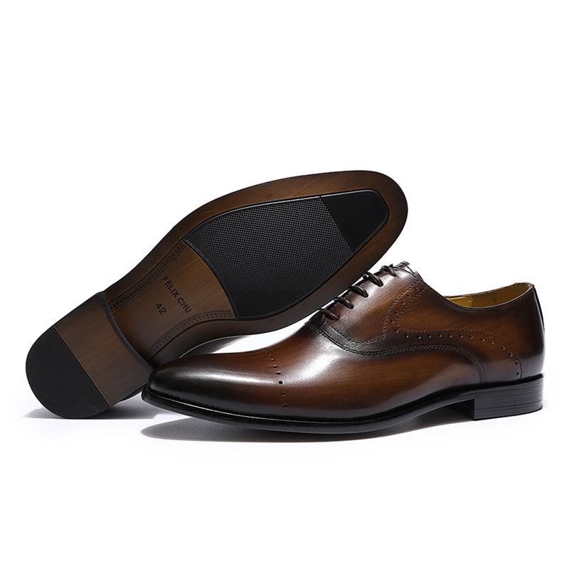 FELIX CHU degli uomini di Punta Pianura Brogue Oxford Scarpe di Cuoio Genuino Pattini di Vestito Marrone Verde Uomini di Partito di Nozze Scarpe Formali scarpe Da uomo-in Scarpe da cerimonia da Scarpe su  Gruppo 3