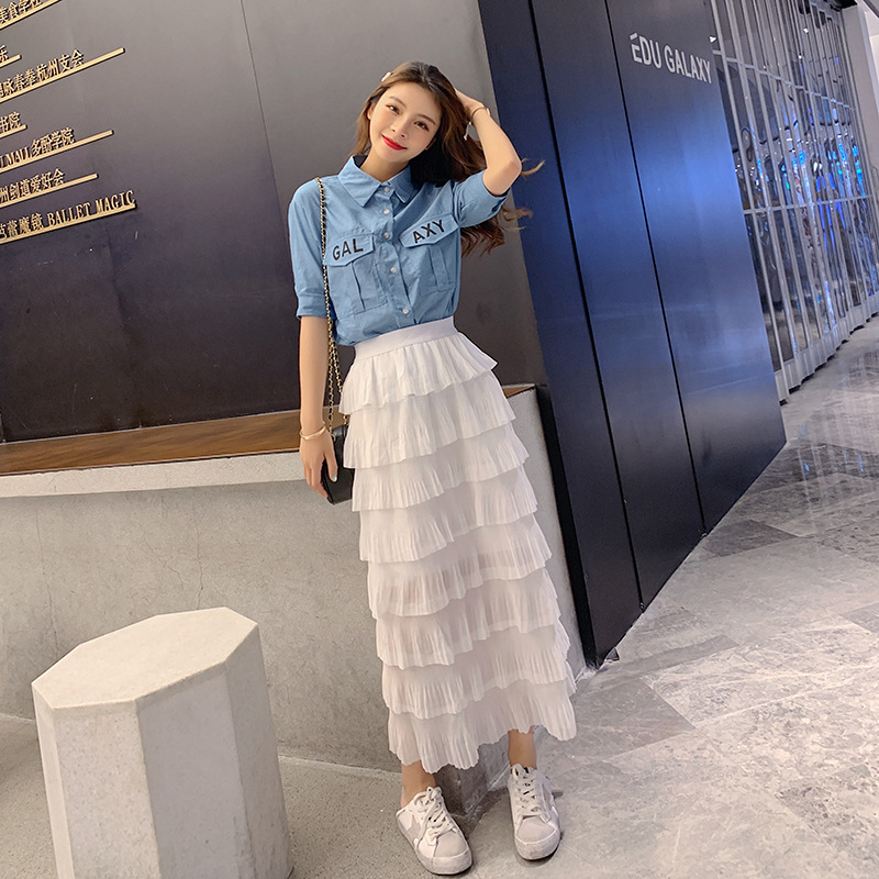 WOMEN'S Suit Summer  New Style Trendy Letters Printed Denim Shirt + Skirt Cake Dress Two-Piece Set F7229