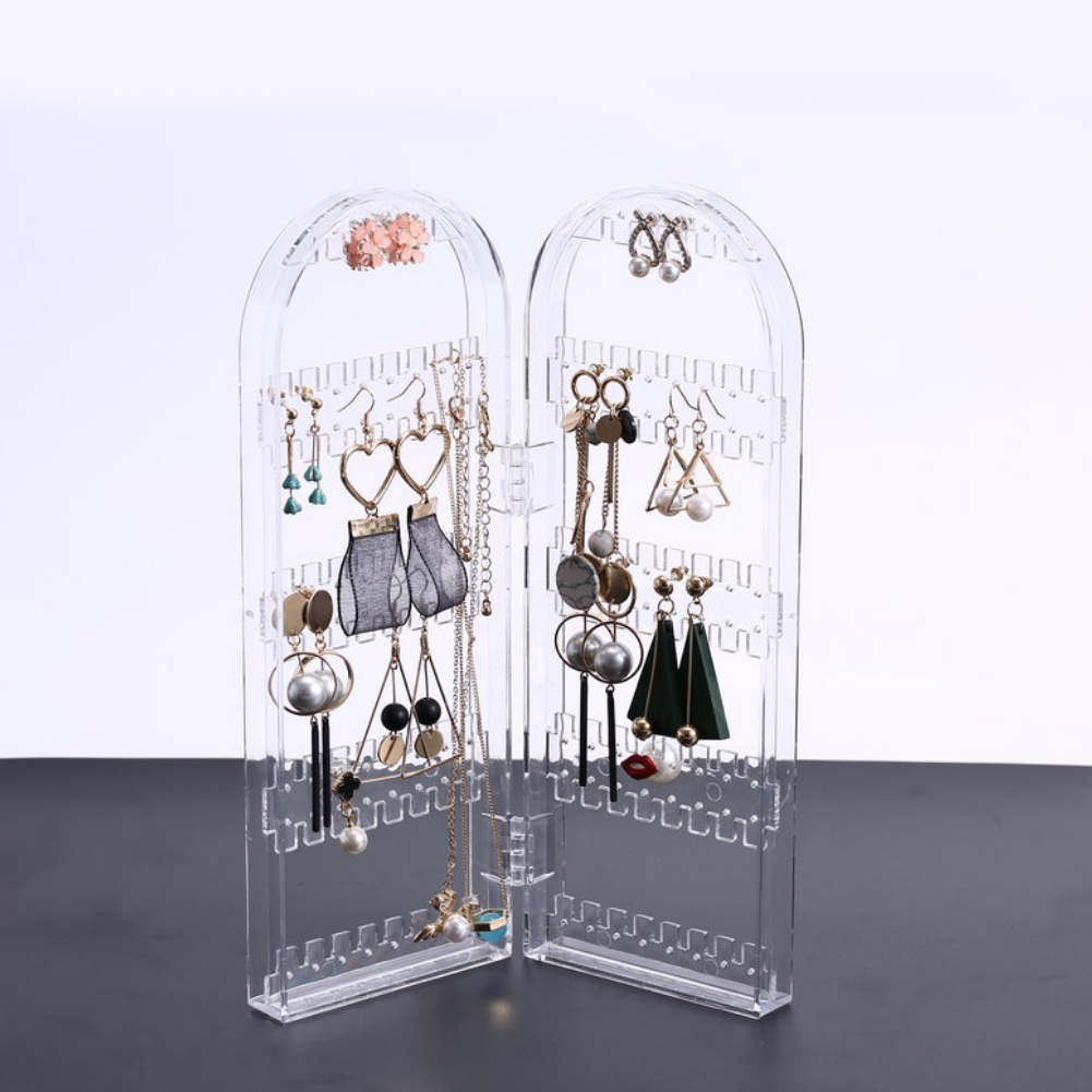 Clear Earrings Rack Foldable Jewelry Earrings Ear Clip Storage Shelf Acrylic Storage Box Display Stand title=