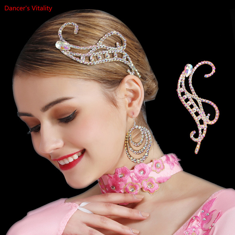 Dance Jewelry Middle Eastern Rhinestone Handmade Cowhide Bottom Headdress Modern Dance Latin Dance Headdress(China)