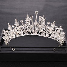 New Trendy Rhinestone Crystal Tiara Queen Wedding Crown Bride Diadem Bridal Headpiece Party Wedding Hair Jewelry Accessories недорого