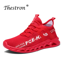 New Cool Young Boys Casual Shoes Red Kid Running Footwear Soft Breathable Teenage Trainers Fashion Knit Boy Sneakers