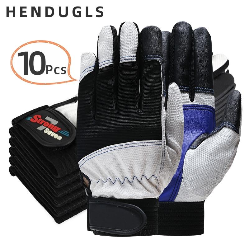 HENDUGLS 10pcs Hot Sale Safety Cycling Gloves Motorcycle Glove Motocross Gloves Sport Bike Protective Work Glove 7-B
