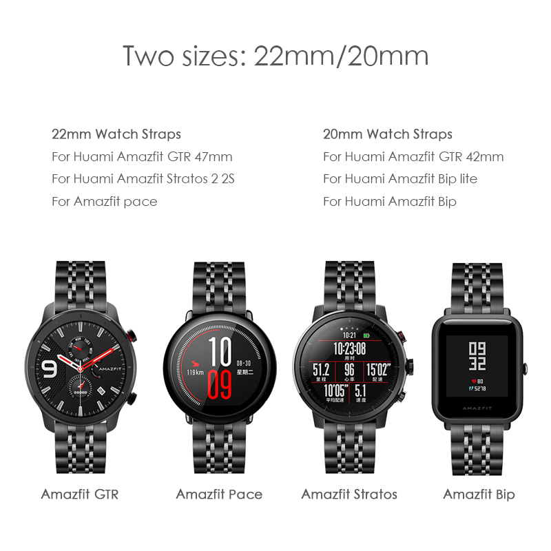 cheapest Stainless Steel watchband for xiaomi Huami Amazfit GTR 47mm 42mm GTS Watch Band for Amazfit bip Stratos 3 2 Metal Classic Strap