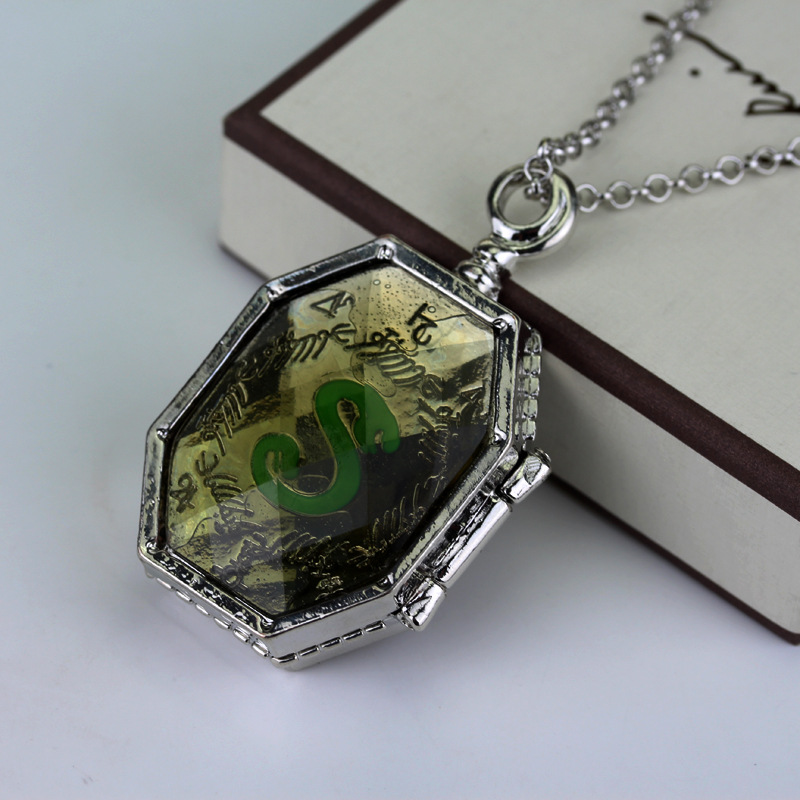 Harry Horcrux box <font><b>necklace</b></font> <font><b>Hogwarts</b></font> Slytherin Lord Voldermort Magic Items glass face pendant men women fashion retro jewelry image