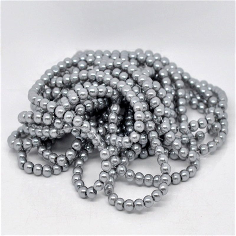 5 Strands Doreen Box Round Glass Pearl Beads 8mm Dia. Grey Color For DIY Jewelry Making 82cm Long, about 110pcs per strand