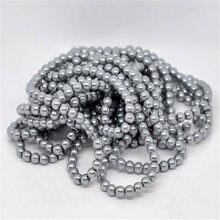 5 fili Doreen Scatola Rotonda Perla di Vetro Perline 8 millimetri Dia. Di Colore grigio per Il FAI DA TE Monili Che Fanno 82cm di Lunghezza, circa 110pcs per filo