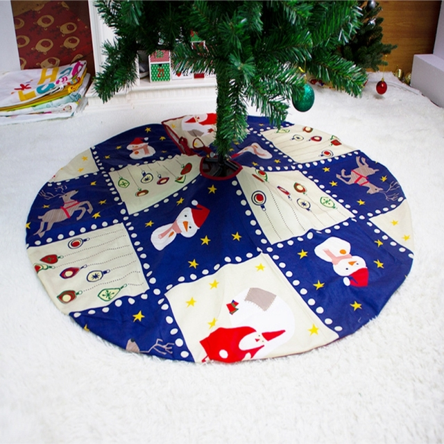 2021 Christmas Tree Skirt Santa Claus Elk Round Carpet Christmas Decorations For Home Party Office Floor Mat New Year Decor 3
