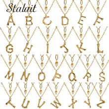 купить Alphabet A-Z Minimalist Initial Pendant Necklace Women Chic Gold Alloy Bamboo 26 Letter Fashion Pearl Link Chain Jewelry дешево