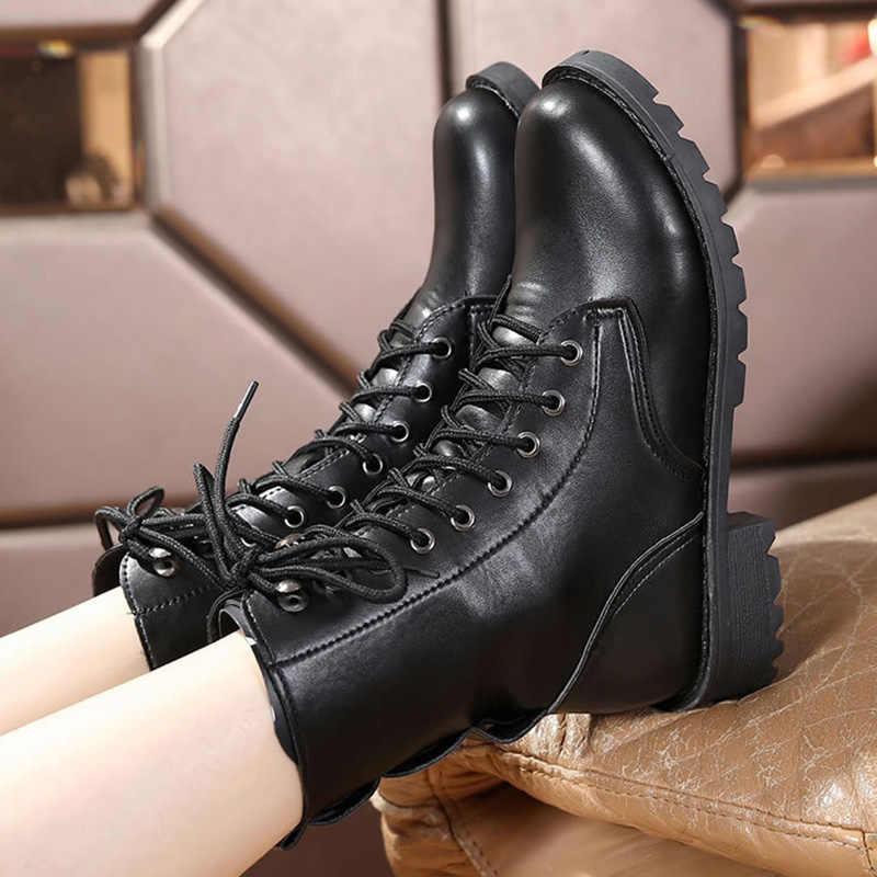 Femmes bottes boucle hiver moto bottes femmes Style britannique bottine gothique Punk chaussons pour Martin chaussures grande taille 43