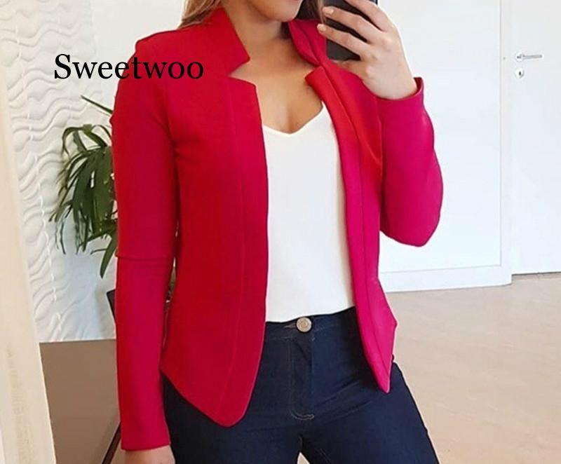 Autumn Women Candy Colors Blazers and Jackets Work Office Lady Suit Slim Business Female Blazer Coat Plus Size S-5XL