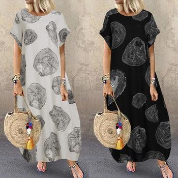 Bohemian Beach Maxi Dress Womens Printed Summer Sundress ZANZEA 2020 Casual Polka Dot Baggy Sarafans Vestidos Plus Size Robe