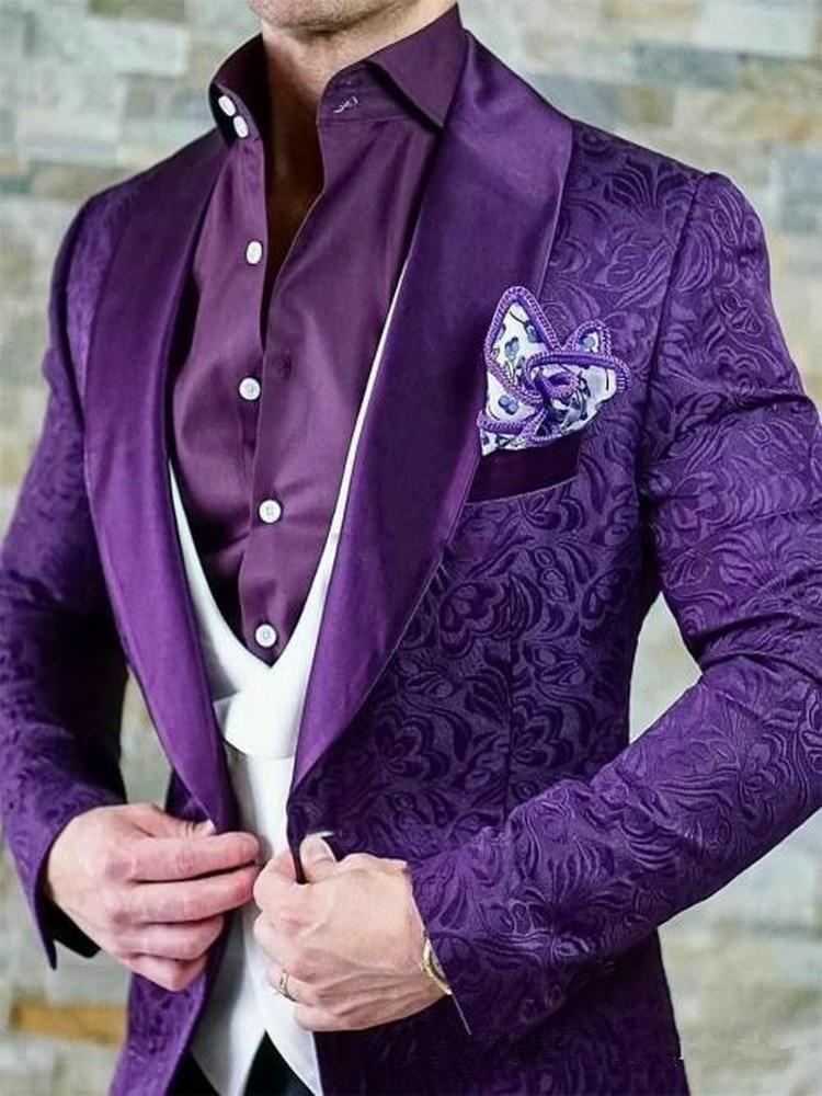 Custom Made Men Suits One Button Groom Tuxedos Shawl Satin Lapel Groomsmen Wedding Best Man ( Jacket+Pants+Vest+Tie ) C945