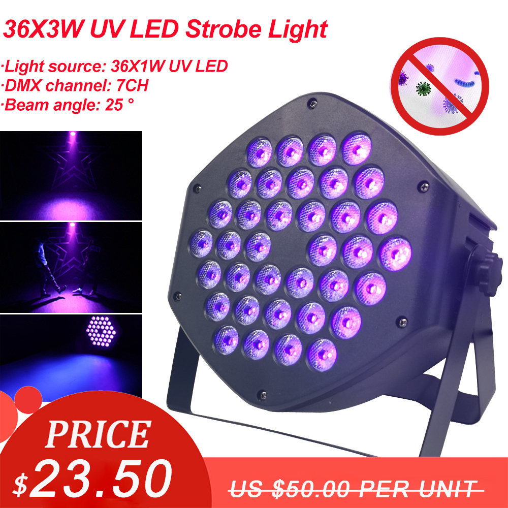 36X3W LED UV Sterilizing Lamp Ultraviolet Germicidal Disinfection Light Sterilizer Bacterial Kill Mite Stage Party DJ Bar Lamp