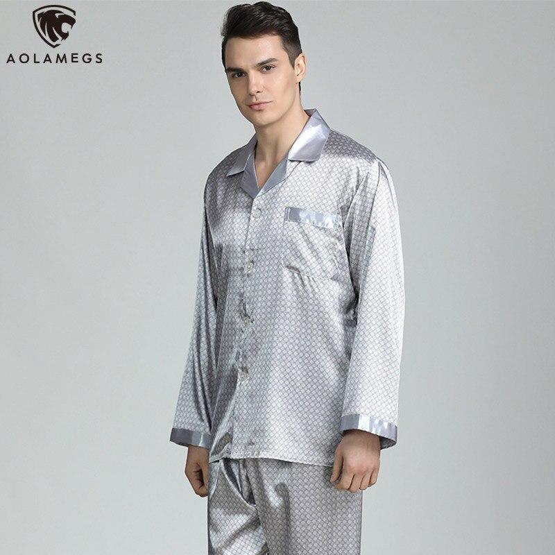 Aolamegs Men Pajamas Set Luxury Printed Silk Sleepwear Thin Soft Long Sleeve Turn-down Loose Advanced Style Men Pajamas Autumn
