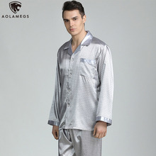 Aolamegs Men Pajamas Set Luxury Printed Silk Sleepwear Thin Soft Long Sleeve Turn-down Loose Advanced Style Autumn