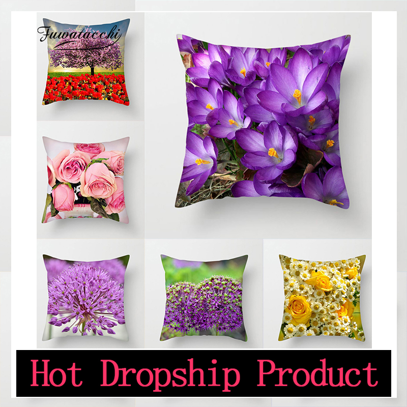 Fuwatacchi Flower Painting Cushion Covers Sundial Floral decorative pillows Rose throw pillows decorative pillows(China)