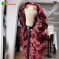 13 × 4, парик на сетке для женщин, перуанские волнистые волосы, вишневые, красные, бордовые, оранжевые, предварительно выщипанные парики из чел...