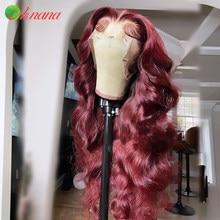 13 × 4 peruca frontal do laço para as mulheres peruano onda do corpo cereja vermelho borgonha laranja pré-arrancado perucas de cabelo humano 180% laço transparente