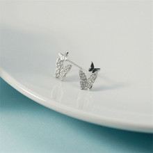 925 sterling silver Stud earrings The butterfly is contracted temperament Fresh students personality Womens fashion jewelry