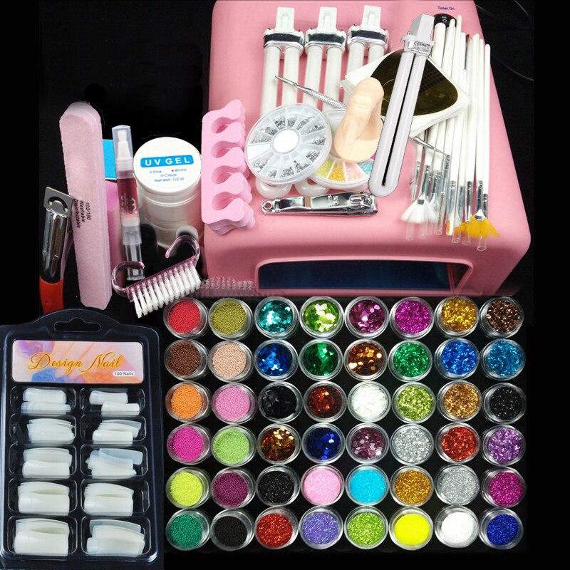 36w uv rosa lampe maniküre set Nail art UV Gel Kits werkzeuge Pinsel Tipps Kleber Acryl Pulver-in Sets und Bausätze aus Haar & Kosmetik bei  Gruppe 1