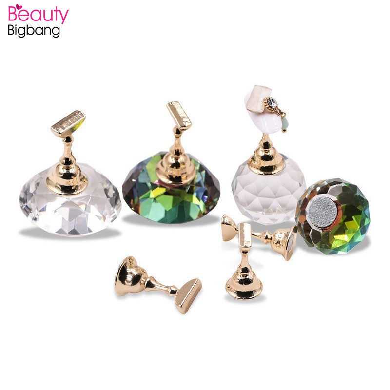1 Set Magnetic Nail Art Display Holder Practice Training Alloy False Showing Shelf Salon DIY Manicure Tools Tips Nail Stand Form
