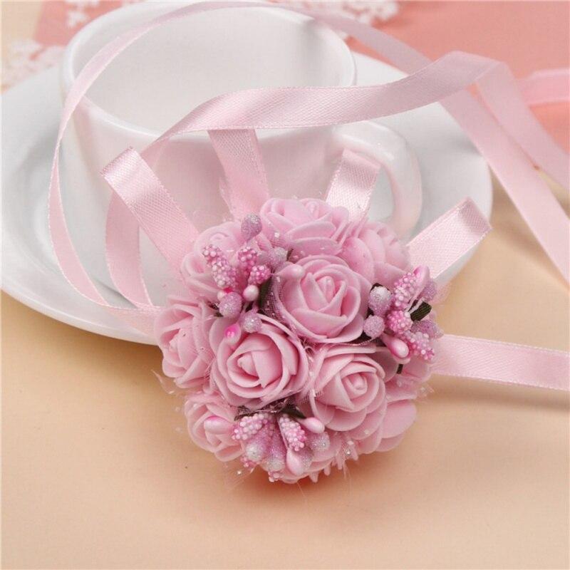 Цветы руки Искусственные Свадебные цветы искусственный цветок на запястье для подружки невесты сестры свадебные декорации цветок