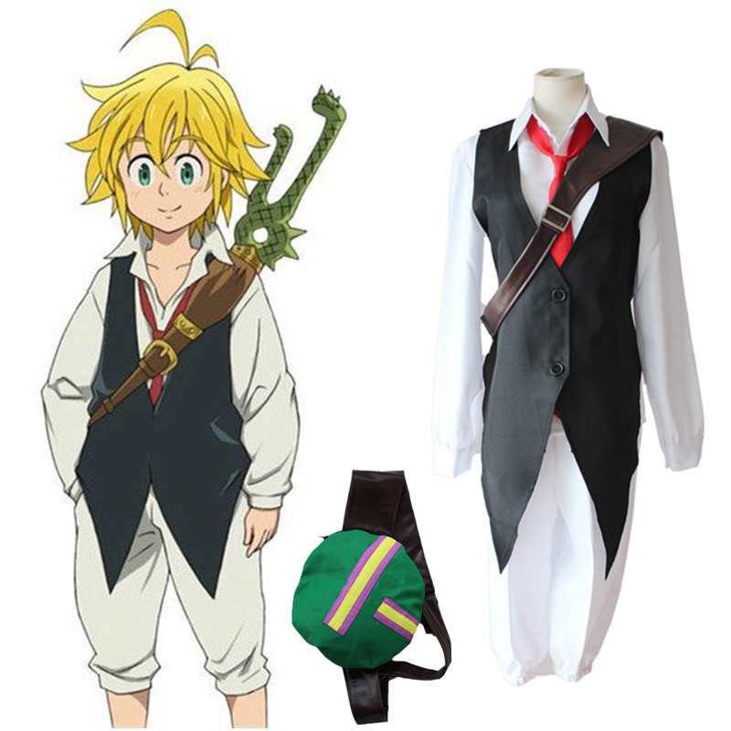 Image 2 - The Seven Deadly Sins Anime Meliodas Dragons Sin of Wrath Cosplay Costume  Uniforms Shirt + Vest + Pants + Tie WigAnime Costumes   -