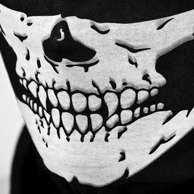 Outdoor Motorcycle Half Face Mask Skull Ghost Moto Mouth Face Masks Balaclava Shield Neck Protective Biker Scarf Masquerade 3