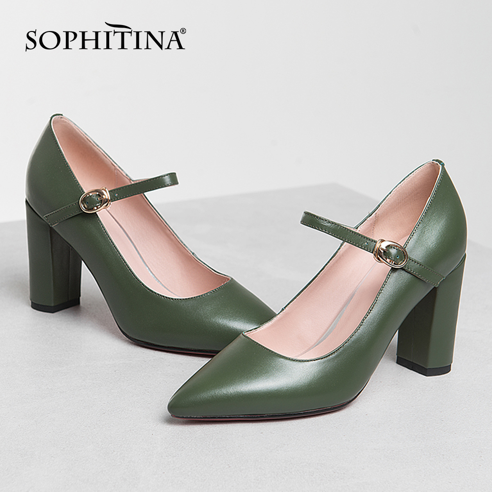 SOPHITINA High Heel Women Pumps High Quality Cow Leather Buckle Pointed Toe Shallow Ladies Shoes Summer Party Dress Pumps MO405