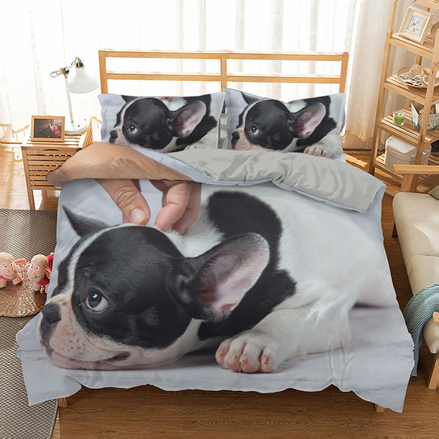 Home Textiles French Bulldog Printing Duvet Cover King Size Double Bedding Sets Queen Bulldog Pattern Quilt Cover Pillowcase