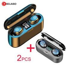 F9 tws fone de ouvido sem fio bluetooth esportes fones estéreo baixo cancelamento ruído fone earbud com microfone caixa carregamento