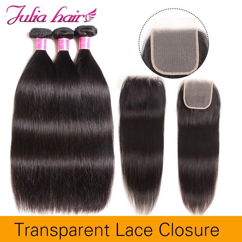 Ali Julia Hair 4 4 Transparent Lace Closure With Bundles Brazilian Remy Straight Human Hair Bundles