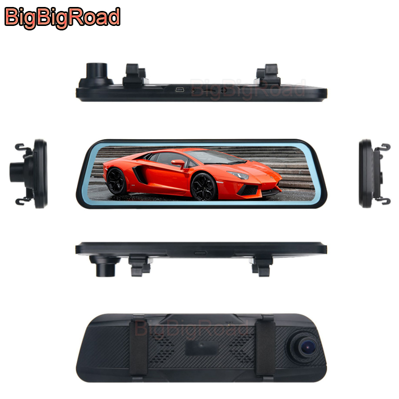 BigBigRoad Car DVR Dash Camera Stream RearView Mirror Video Recorder IPS Screen For Kia VG Venga Proceed Ceed Picanto Carens VQ image